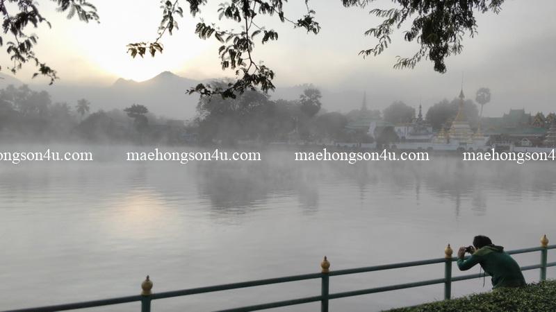 sunrise over jong kham lake