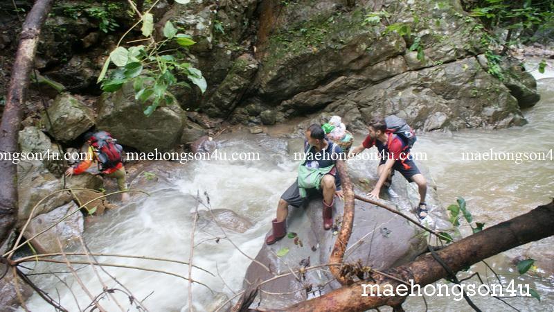 climb the rock cross the creek